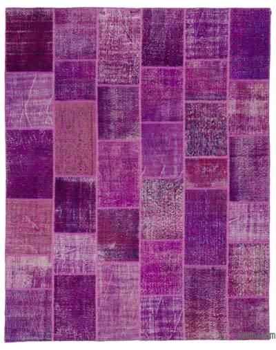 Fuchsia, Purple Over-dyed Turkish Patchwork Rug - 8'1'' x 10' (97 in. x 120 in.)