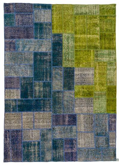 Over-dyed Turkish Patchwork Rug - 8'2'' x 11'8'' (98 in. x 140 in.)