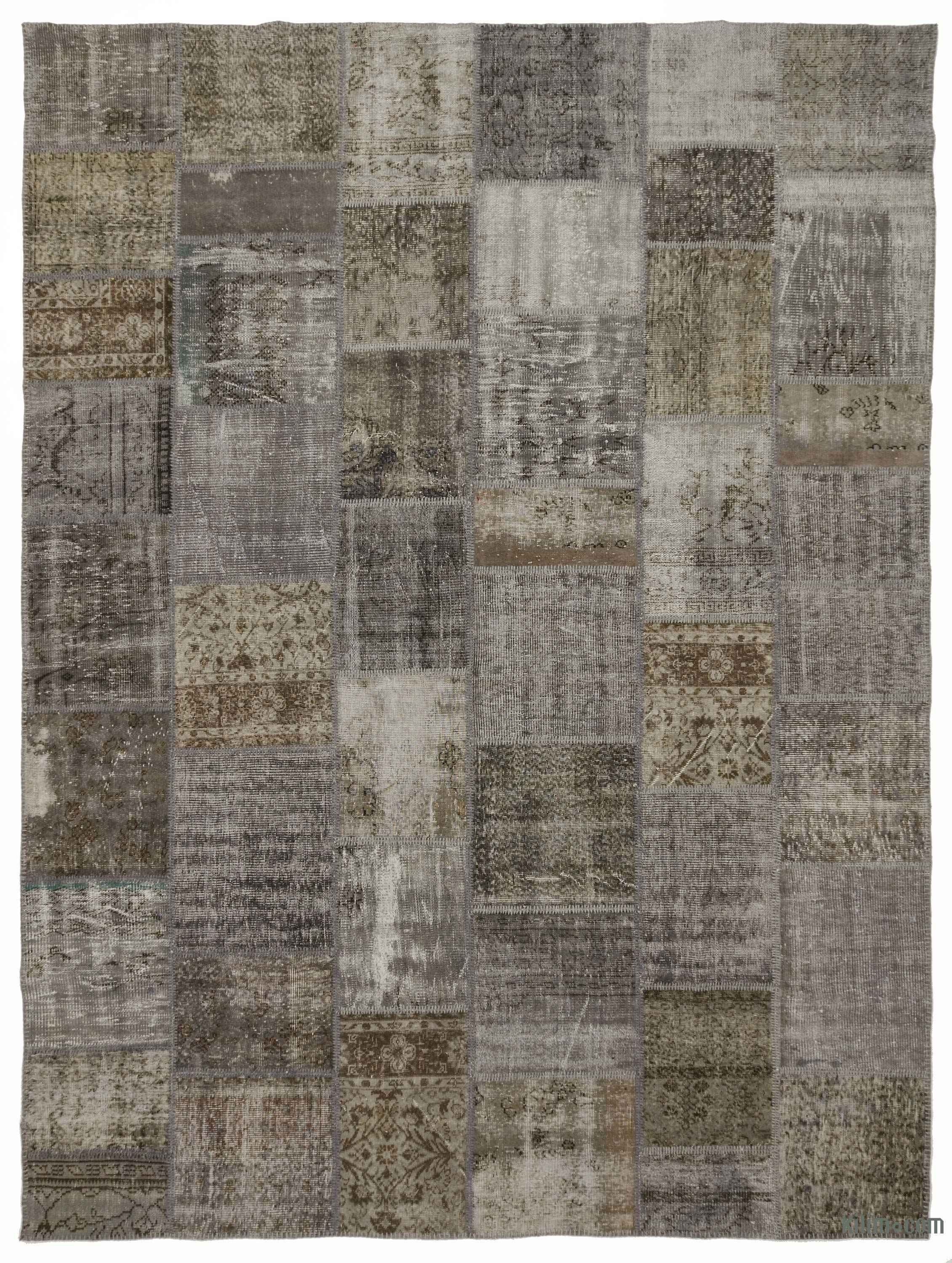 Grey Over Dyed Turkish Patchwork Rug 9 1
