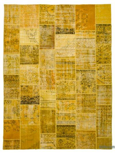 Yellow Over-dyed Turkish Patchwork Rug - 9' x 12' (108 in. x 144 in.)