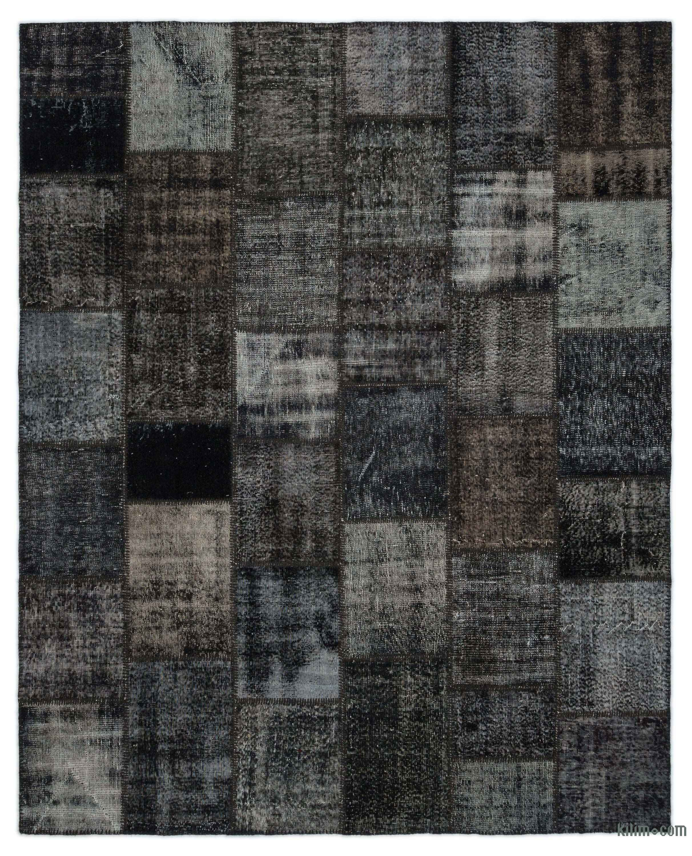 Black Over Dyed Turkish Patchwork Rug