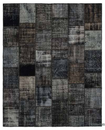 Black Over-dyed Turkish Patchwork Rug - 8'1'' x 10' (97 in. x 120 in.)