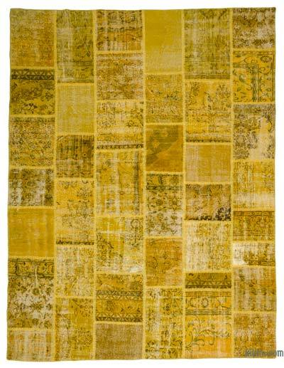 Yellow Over-dyed Turkish Patchwork Rug - 9'1'' x 11'10'' (109 in. x 142 in.)