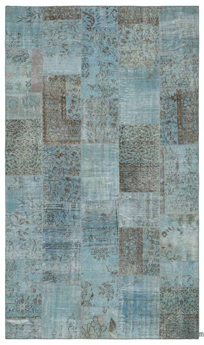 Blue Over-dyed Turkish Patchwork Rug - 5'6'' x 9'3'' (66 in. x 111 in.)