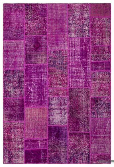 Fuchsia Over-dyed Turkish Patchwork Rug - 6'3'' x 9'4'' (75 in. x 112 in.)