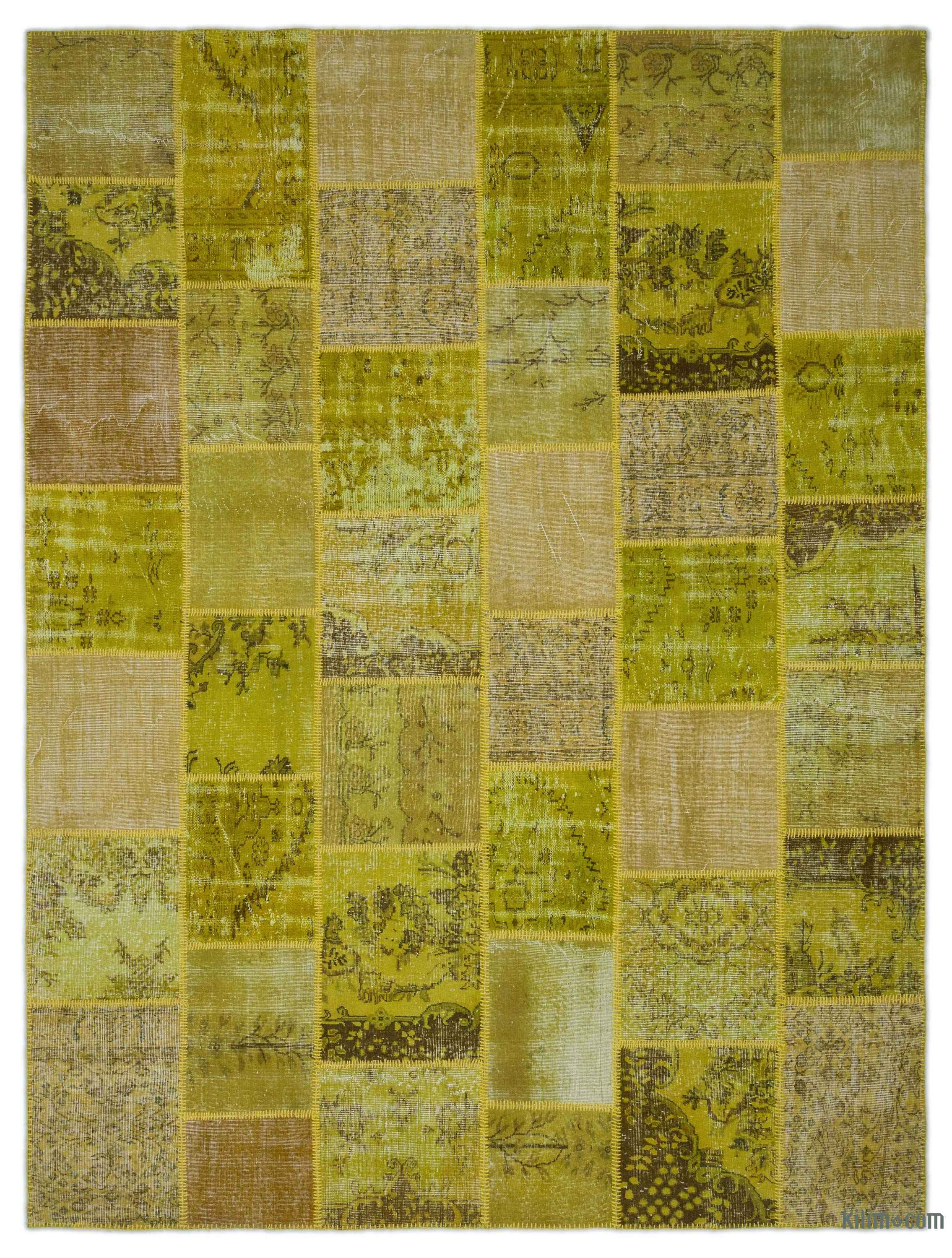 Green Over Dyed Turkish Patchwork Rug 9 X 12 108 In 144