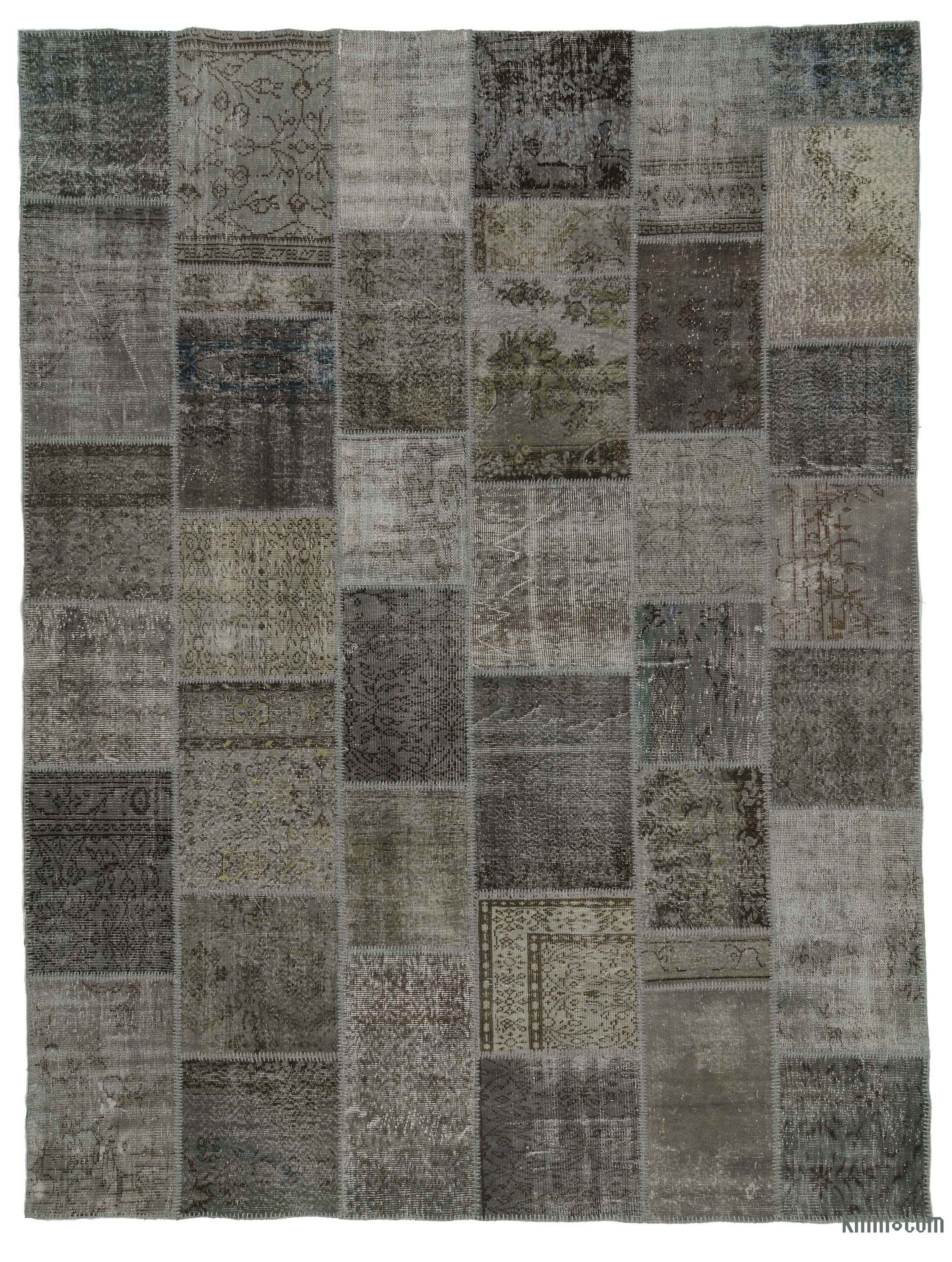 Grey Over Dyed Turkish Patchwork Rug
