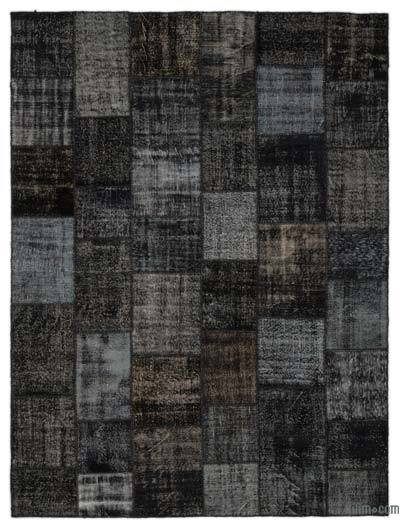 Black Over-dyed Turkish Patchwork Rug - 9'1'' x 12' (109 in. x 144 in.)