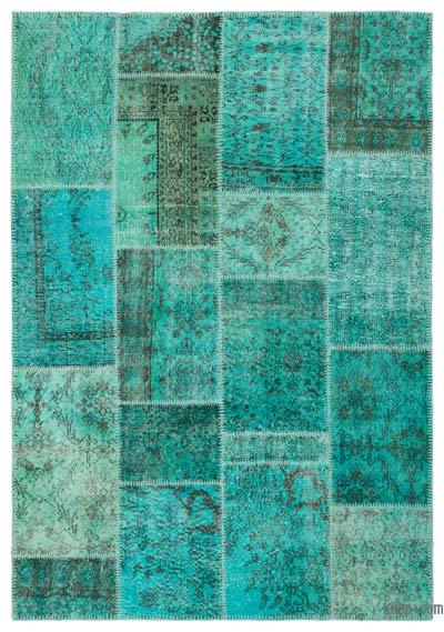 Over-dyed Turkish Patchwork Rug - 5'4'' x 7'7'' (64 in. x 91 in.)