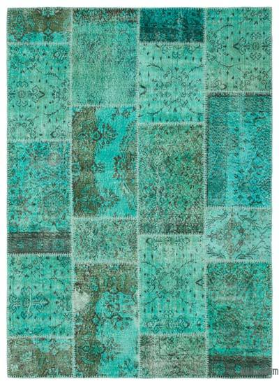 Over-dyed Turkish Patchwork Rug - 5'4'' x 7'4'' (64 in. x 88 in.)