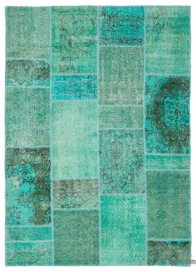 Over-dyed Turkish Patchwork Rug - 5'3'' x 7'4'' (63 in. x 88 in.)
