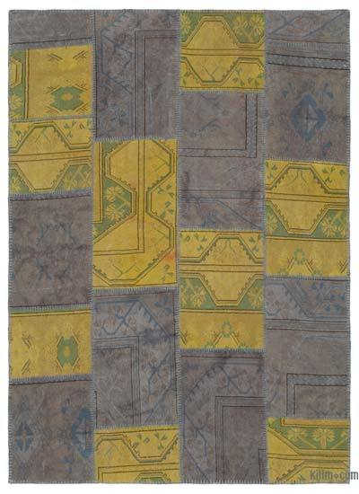 Yellow, Grey Over-dyed Turkish Patchwork Rug - 5'3'' x 7'3'' (63 in. x 87 in.)