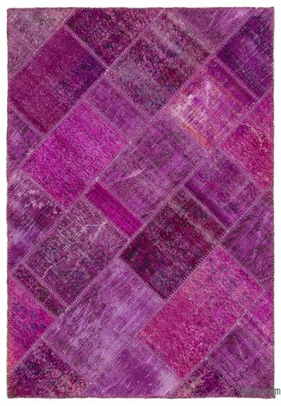 "Over-dyed Turkish Patchwork Rug - 4'1"" x 5'10"" (49 in. x 70 in.)"