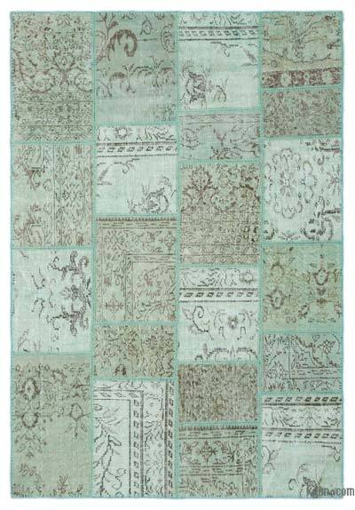 Green Over-dyed Turkish Patchwork Rug - 5'3'' x 7'10'' (63 in. x 94 in.)