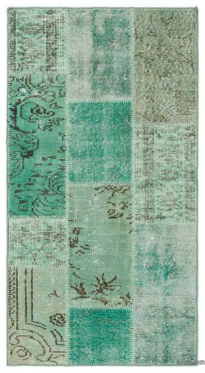 Green Over-dyed Turkish Patchwork Rug - 2'7'' x 4'11'' (31 in. x 59 in.)