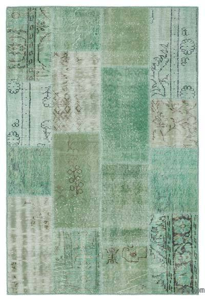 Green Over-dyed Turkish Patchwork Rug - 3'11'' x 6' (47 in. x 72 in.)