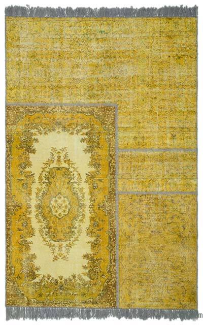 Over-dyed Turkish Patchwork Rug - 6'7'' x 9'11'' (79 in. x 119 in.)