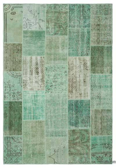 "Over-dyed Turkish Patchwork Rug - 6'4"" x 9'3"" (76 in. x 111 in.)"