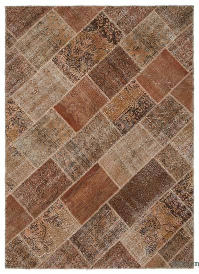 Brown Over-dyed Turkish Patchwork Rug - 5'5'' x 7'5'' (65 in. x 89 in.)