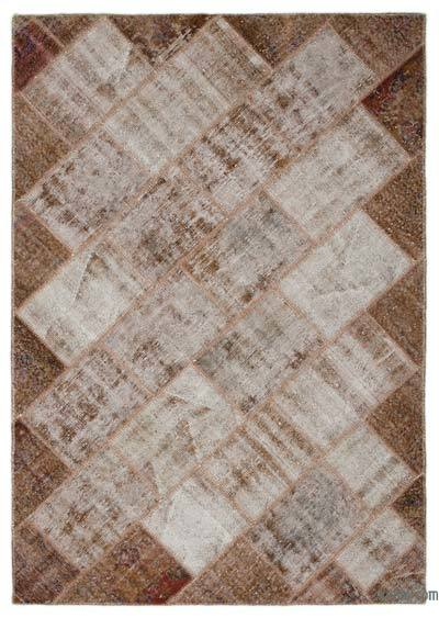 Brown Over-dyed Turkish Patchwork Rug - 5'3'' x 7'6'' (63 in. x 90 in.)