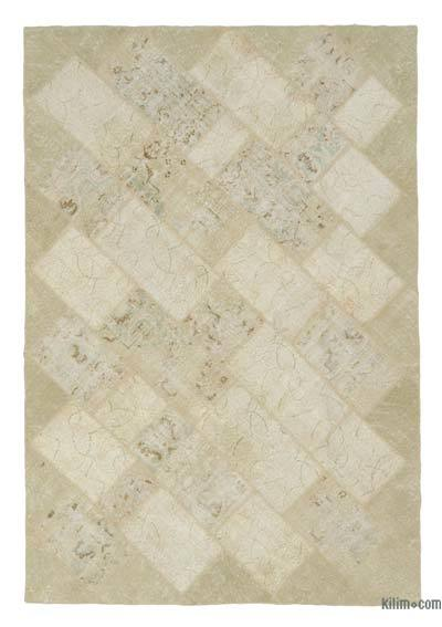 Beige Over-dyed Turkish Patchwork Rug - 6'4'' x 9'3'' (76 in. x 111 in.)
