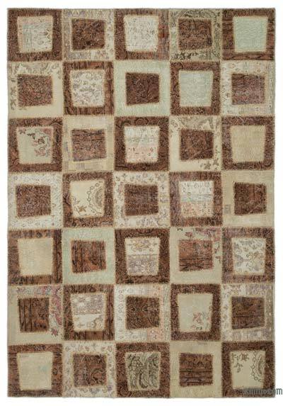 "Over-dyed Turkish Patchwork Rug - 6'6"" x 9'4"" (78 in. x 112 in.)"