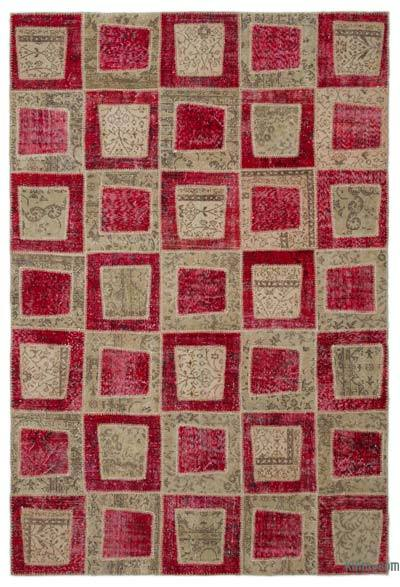 Red Over-dyed Turkish Patchwork Rug - 6'4'' x 9'3'' (76 in. x 111 in.)