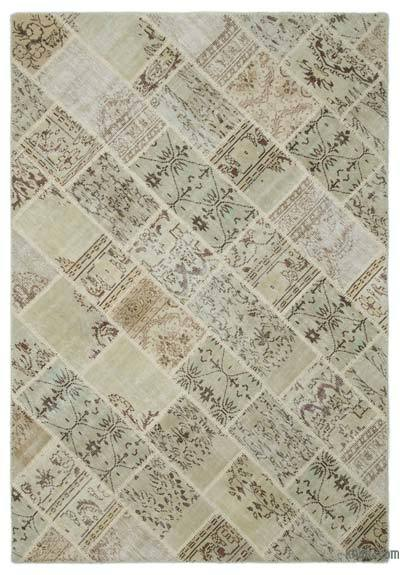 Beige Over-dyed Turkish Patchwork Rug - 6'3'' x 9'1'' (75 in. x 109 in.)