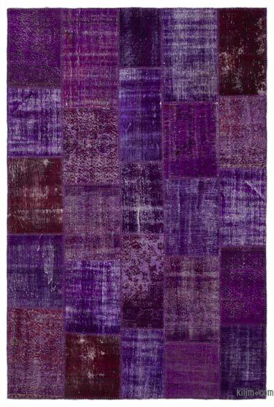 Purple Over-dyed Turkish Patchwork Rug - 6'2'' x 9'3'' (74 in. x 111 in.)