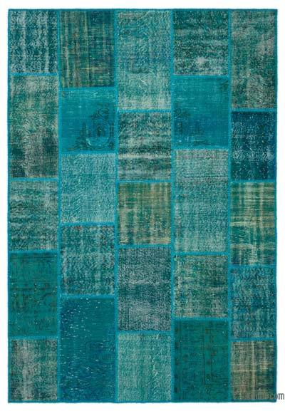 Turquoise Over-dyed Turkish Patchwork Rug - 6'4'' x 9'3'' (76 in. x 111 in.)