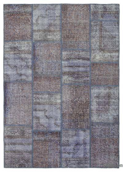 Light Blue Over-dyed Turkish Patchwork Rug - 5'5'' x 7'7'' (65 in. x 91 in.)