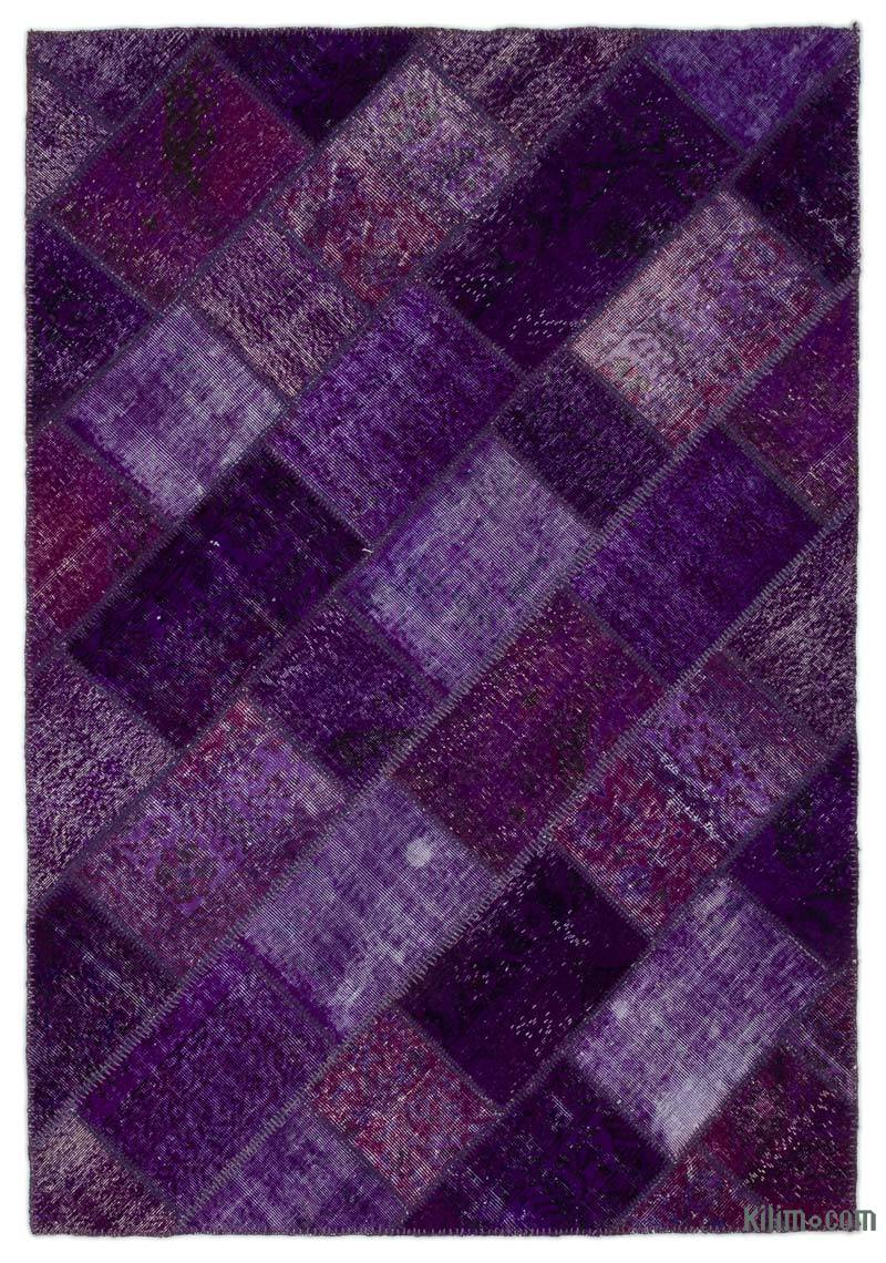 K0022082 Purple Over Dyed Turkish Patchwork Rug 5 3 X