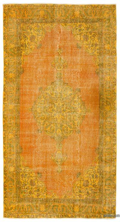 Yellow, Orange Over-dyed Turkish Vintage Rug - 5'3'' x 9'5'' (63 in. x 113 in.)