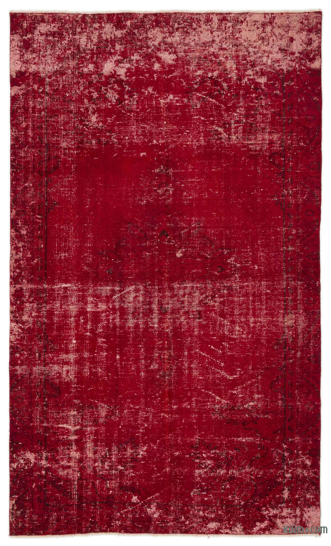 k red overdyed turkish vintage rug  kilim rugs overdyed  - red overdyed turkish vintage rug