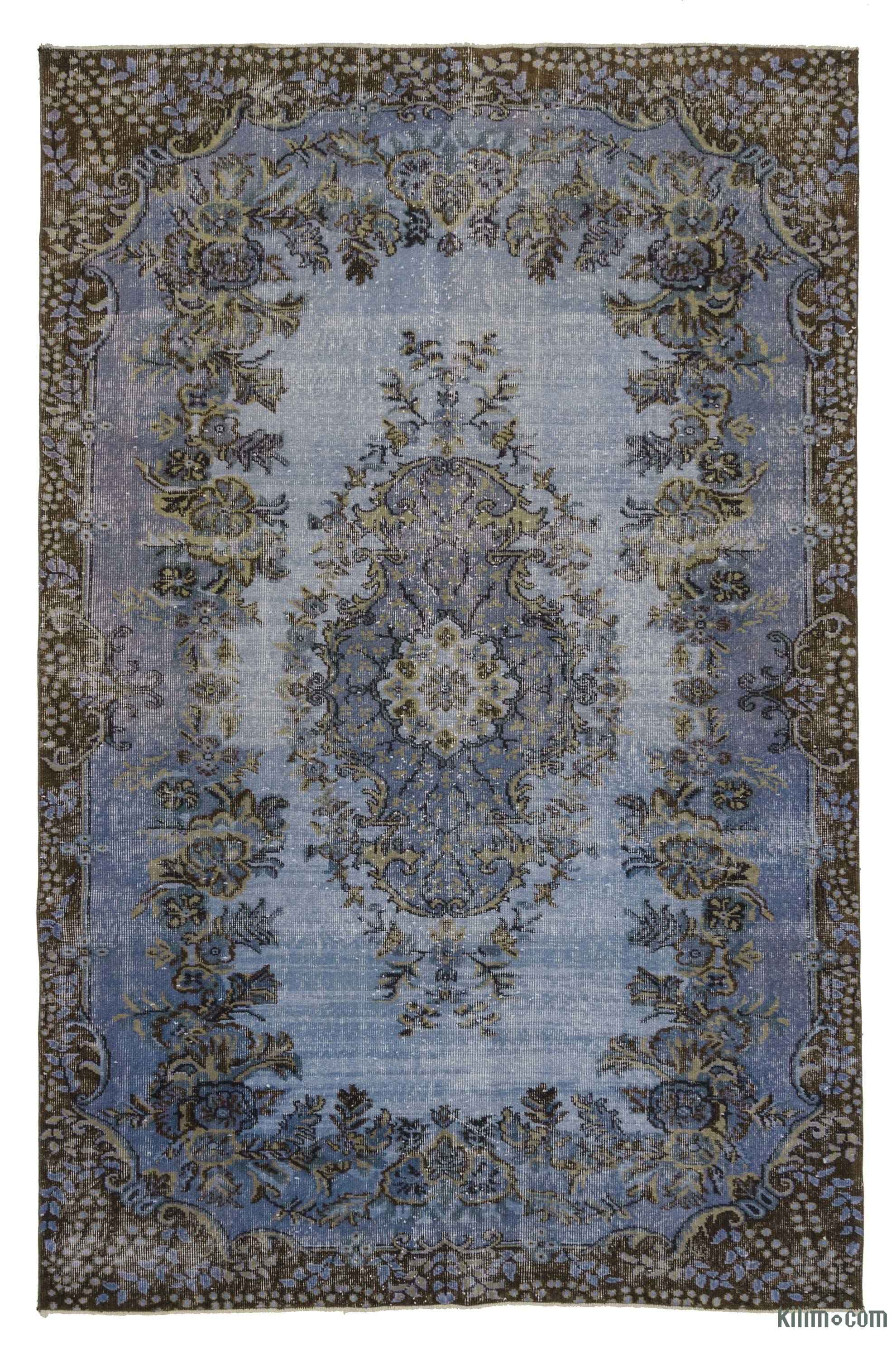 K0023204 Blue Over Dyed Turkish Vintage Rug 5 9 X 8 10