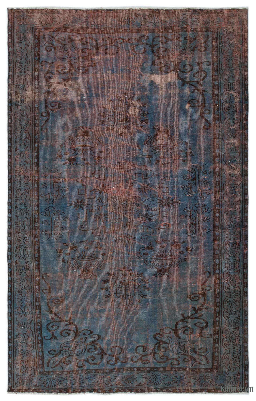 K0023210 Blue Over Dyed Turkish Vintage Rug 5 10 X 9 5
