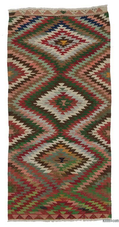 "Vintage Turkish Kilim Rug - 4'8"" x 9'5"" (56 in. x 113 in.)"