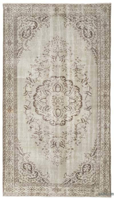 Beige Over-dyed Turkish Vintage Rug - 5'5'' x 9'6'' (65 in. x 114 in.)
