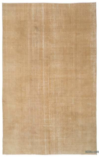 Beige Over-dyed Turkish Vintage Rug - 6'5'' x 10'2'' (77 in. x 122 in.)