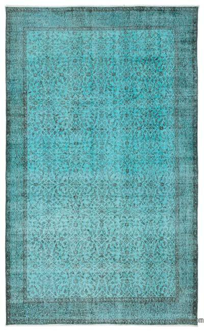 Turquoise Over-dyed Turkish Vintage Rug - 5'3'' x 8'9'' (63 in. x 105 in.)