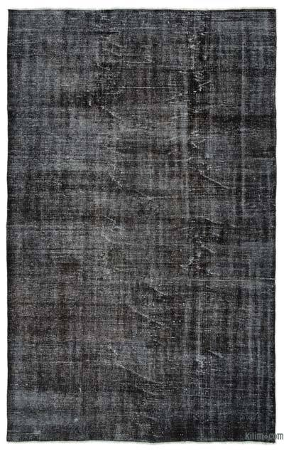 Black Over-dyed Turkish Vintage Rug - 5'9'' x 9'1'' (69 in. x 109 in.)