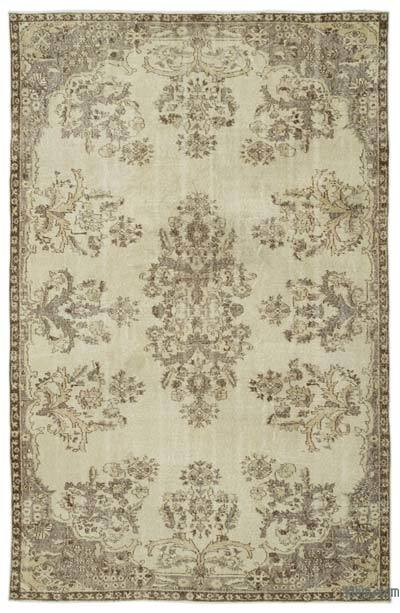 Beige Over-dyed Turkish Vintage Rug - 6' x 9'6'' (72 in. x 114 in.)