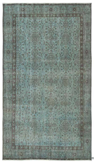 Light Blue Over-dyed Turkish Vintage Rug - 4'8'' x 8'3'' (56 in. x 99 in.)