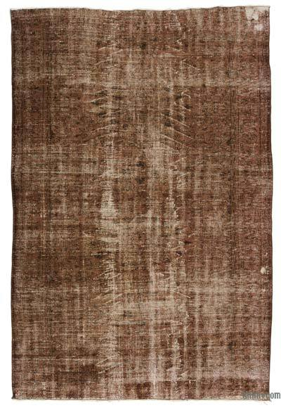 Brown Over-dyed Turkish Vintage Rug - 5'7'' x 8'3'' (67 in. x 99 in.)