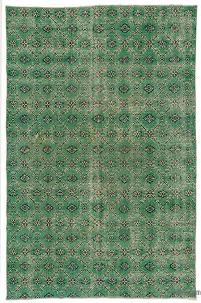 Green Turkish Vintage Area Rug - 5'7'' x 8'7'' (67 in. x 103 in.)