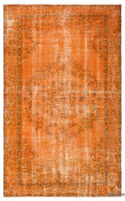 Orange Over-dyed Turkish Vintage Rug - 5'4'' x 8'8'' (64 in. x 104 in.)