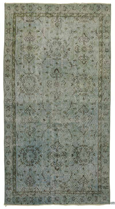 Light Blue Over-dyed Turkish Vintage Rug - 3'5'' x 6'6'' (41 in. x 78 in.)