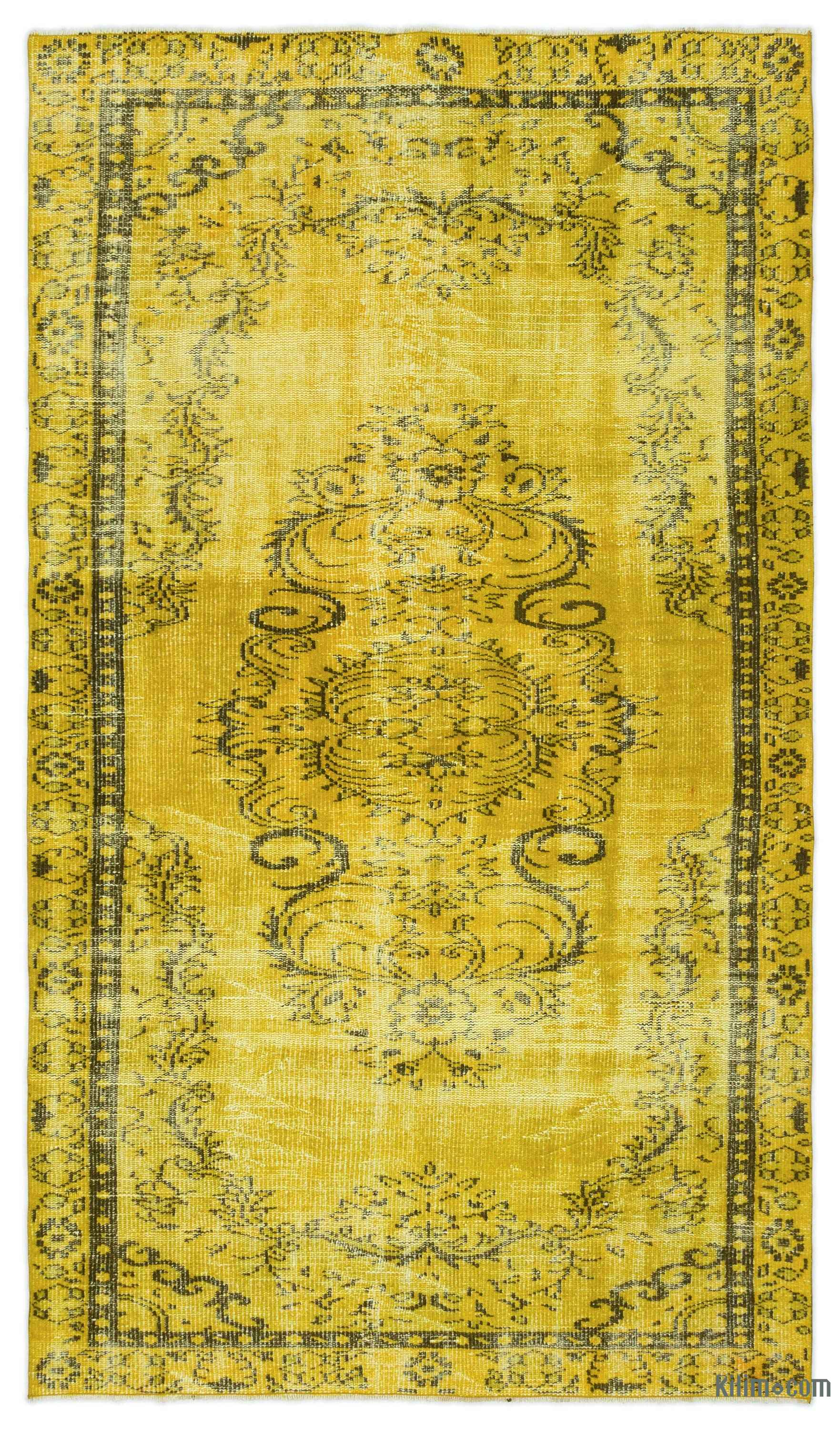 Yellow Over Dyed Turkish Vintage Rug 4 10 X 8 5 58 In 101