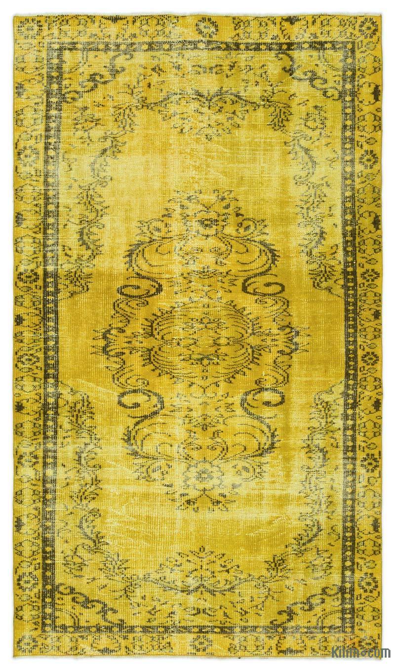 K0024252 Yellow Over Dyed Turkish Vintage Rug 4 10 X 8