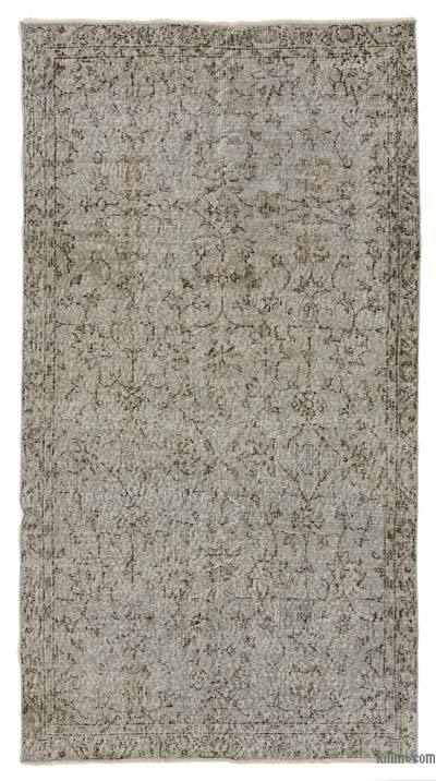 Grey Over-dyed Turkish Vintage Rug - 3'7'' x 6'8'' (43 in. x 80 in.)